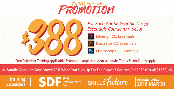 Adobe Training Courses Promotion - Photoshop, Illustrator and InDesign at $388 (Usual - $450) each - Acadia Training