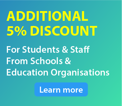 Additional 10% discount for Students and Staff from Education Institution